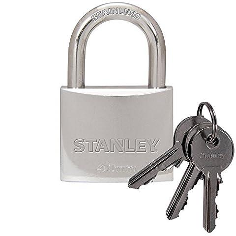 STANLEY Cadenas laiton plaqué chrome 40mm anse standard, 3 clés, S742-012