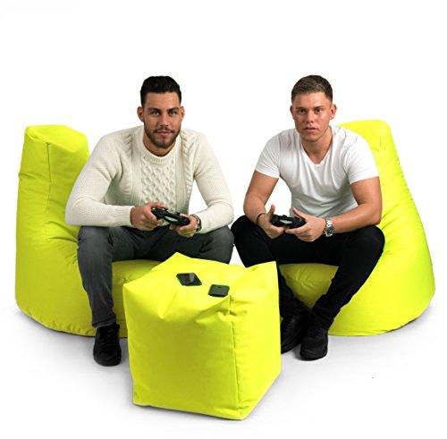 BuBiBag Gamer Kissen Lounge Sitzsack Sessel original Sitzkissen In & Outdoor geeignet fertig befüllt in 31 Farben (gelb) - 6