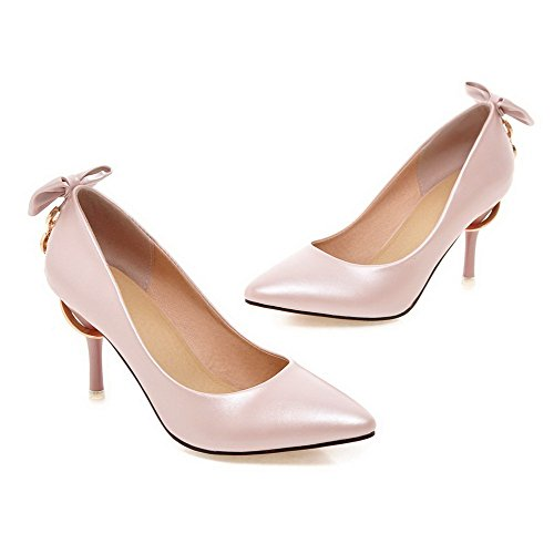 AllhqFashion Damen Pu Rein Spitz Schließen Zehe Stiletto Pumps Schuhe Pink