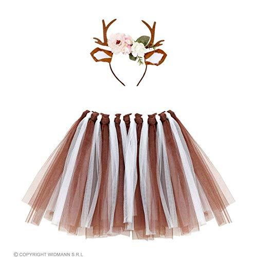 Lively Moments Rentiergeweih mit Ohren & Tütü / Blumen Haarreif Elch mit Tüllrock / Weihnachten Kostüm Zubehör
