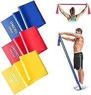 OMERIL Bande Elastiche Fitness (3 Pezzi), 2 m/ 1,5 m Fasce Elastiche con 3 Livelli di Resistenza, Fascia Elast