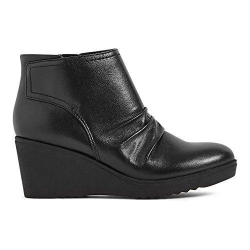 Marks & Spencer FOOTGLOVE™ T028580 Leather Wedge Heel Side Zip Ankle Boots...