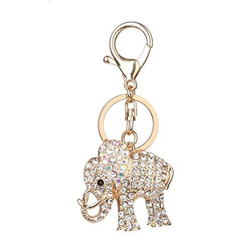 Windy5 Crystal elefante formó la cadena pendiente del Rhinestone llavero dominante animal de la hebilla de la llave del coche llavero