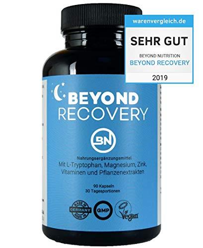 Beyond Recovery natürlicher Schlaf- und Nachtkomplex ohne Melatonin, 90 rezeptfreie Kapseln mit 11 pflanzlichen Zutaten wie L-Tryptophan & Ashwagandha, extra stark