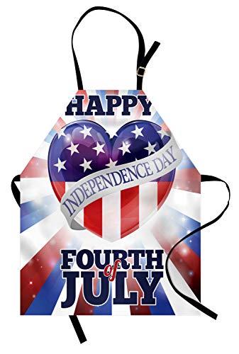 Abakuhaus 4. Juli Kochschürze, Bunte Feier der Unabhängigkeit des Sommer-Sommer-Feiertags Vereinigter Staaten, Farbfest Höhenverstellbar Waschbar Klarer Digitaldruck, Mehrfarbig
