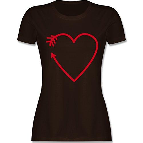Romantisch - Herz Pfeil - tailliertes Premium T-Shirt mit Rundhalsausschnitt für Damen Braun