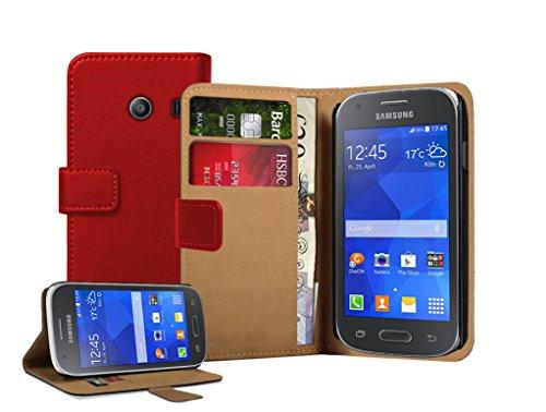 Membrane - Rot Brieftasche Klapptasche Hülle Samsung Galaxy Ace Style (SM-G310) - Wallet Flip Case Cover Schutzhülle