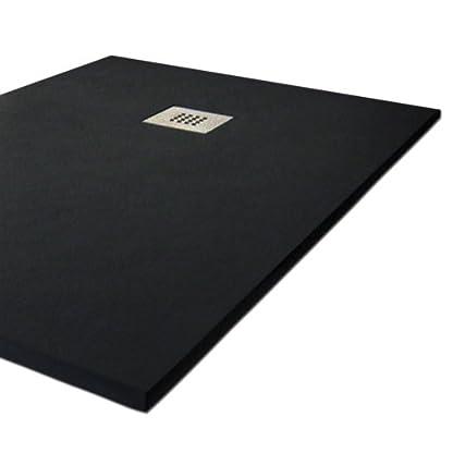 "Plato ducha resina tipo pizarra ""Slate"". 80x180cm. Negro Ral. 9005"