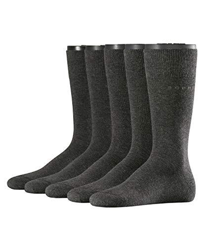 ESPRIT Herren Socken Uni 5-Pack, Baumwollmischung, 5 Paar, Grau (Anthracite Melange 3080), Größe: 40-46 -