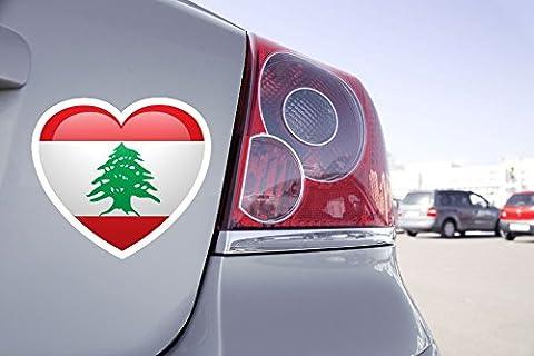 Sticker Voiture Coeur Drapeau Liban - 25cm x 22cm