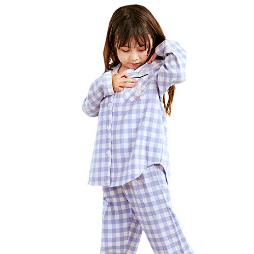 MXYPF 100% Baumwolle Pyjamas Set Kinder Plaid Ente Stickerei Sweet Cute Cartoon Eltern-Kind-Serie Hausmantel