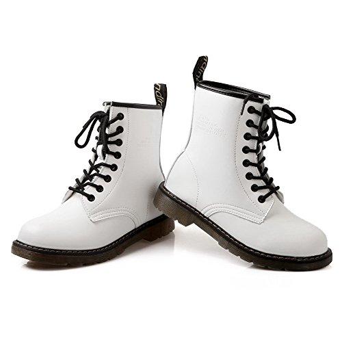 AllhqFashion Damen Niedrig-Spitze Niedriger Absatz Rein Artifizielles Rind Leder Stiefel Weiß
