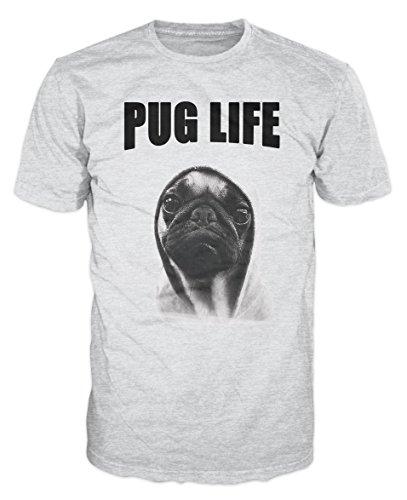 Pug Life Hipster Funny T-Shirt (Ash Grau) Gr. Medium, Aschgrau