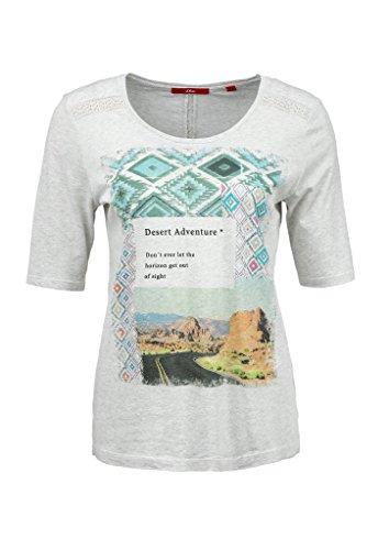 s.Oliver Mit Frontprint, T-Shirt Femme Ecru - Elfenbein (creme placed print 02E1)