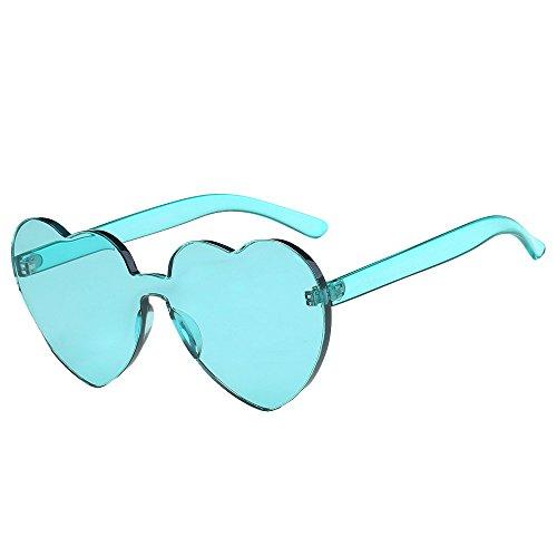 KUDICO Unisex Sonnenbrille Herz Rahmenlos Glasses Frame Bonbon Farbbrillen mit unterschiedliche Farben Brillengläser Party Brille(F, One Size) -