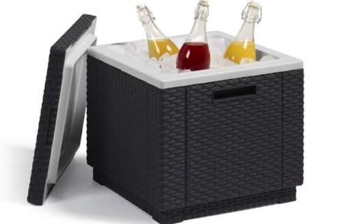 Allibert 201309 Ice Cube Sgabello frigorifero in plastica, aspetto rattan, colore: Antracite