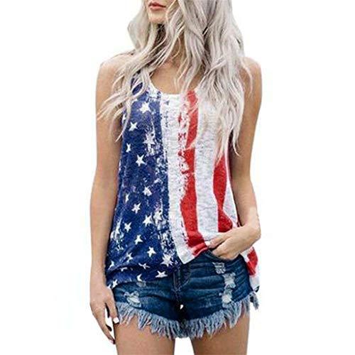 LSAltd Sommer Frauen Casual Vintage Amerikanische Flagge Print Sleeveless Einfache Tank Top T-Shirt Bluse