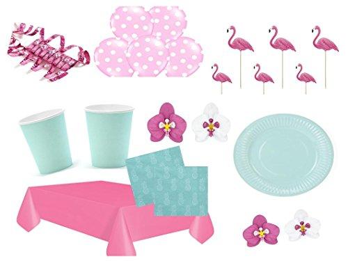 Partyset Komplettset Hawaii Aloha pink grün 70 teilig Partygeschirr bis 12 Personen Geburtstag Kindergeburtstag Sommer Gartenparty Teller Becher Servietten Party Deko