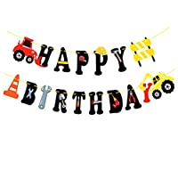 Amosfun Happy Birthday Banner Excavator Hanging Bunting Garland Flag Baby Shower Birthday Party Supplies