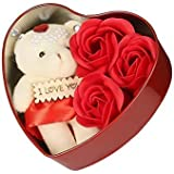 Mixunbox Fabric Heart-Shaped Box with Teddy and Roses