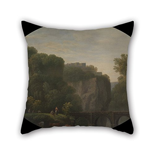 beautifulseason Oil Painting John Taylor of Bath - A Bridge Over The River Wye Throw Pillow Covers 20 X 20 Inches / 50 by 50 cm for Club Kids Boys Bedroom Father Kids Girls Club with 2 Sides -