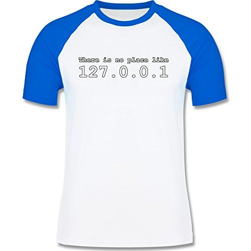 Programmierer - There is no place like 127.0.0.1 - zweifarbiges Baseballshirt für Männer Weiß/Royalblau