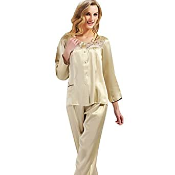 ionlyou&reg 100% Silk Pajamas Sets Women's Classic Comfort Night shirt & pants with Luxury Gift Box (XL)