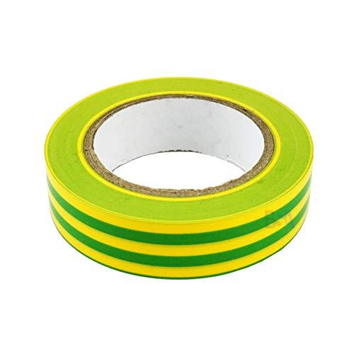 5 Isolierband gelb grün 15mm x 10m x 0,15mm Irox PVC selbstverlöschend IEC RoHS Elektriker Aufkleber 15x10mm/m