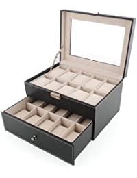 Amzdeal Caja de relojes, Estuche para guardar relojes o joyas, Caja de exposición para 20 relojes, color negro