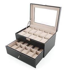 2b9d8626b Amzdeal Caja para relojes, Caja de joyería, Caja de exposición para relojes,  Estuche para guardar relojes o joyas, Caja vitrina, color negro