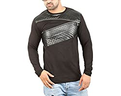 68057bde5f80 61%off Perfect Creations Mens Cross Zip Leather Rough Look Black Color Full  Sleeves T-Shirt (
