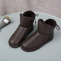 SKYROPNG Zapatos Invierno Mujer Botas De Nieve,Versión Coreana Caqui Brillantes Botines Cuero Botines Espesar Suave Caliente Botas De Algodón Cómodo Antideslizante Exterior Mujer 38