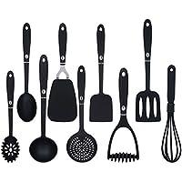 Set de 9 Utensilios de Cocina Antiadherente Utensilios Herramientas de Cocina, Negro