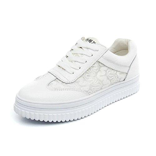 Damen Sneaker Rundzehen Nubukleder mit Spitzen Plateau Rutschhemmend Atmungsaktiv Süß Sportlich Bequem Modisch Turnschuhe Weiß