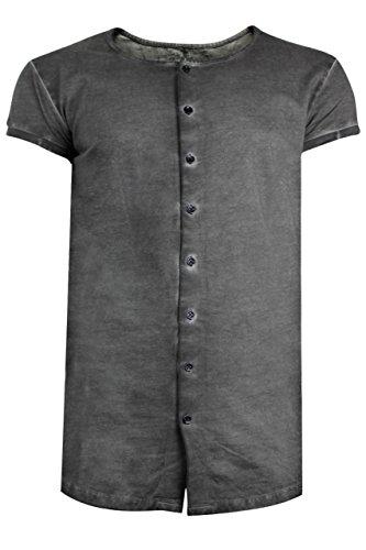 trueprodigy Casual Herren Marken Shirt Short Sleeve einfarbig Basic, Oberteil cool und stylisch mit Rundhals (kurzarm & Slim Fit), T-Shirt für Männer in Farbe: Grau 1072119-0403 Anthracite