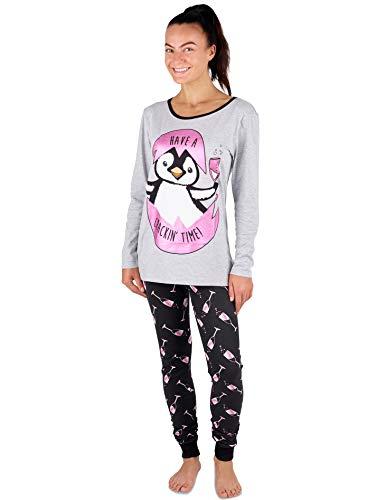 Damen Mädchen Pyjama Set Mops Leben Mickey Mouse Minnie Mad Catz Baumwolle Damen Nachtwäsche Loungewear ,Grauer und Rosen-pinguin und Prosecco,XL 48-50