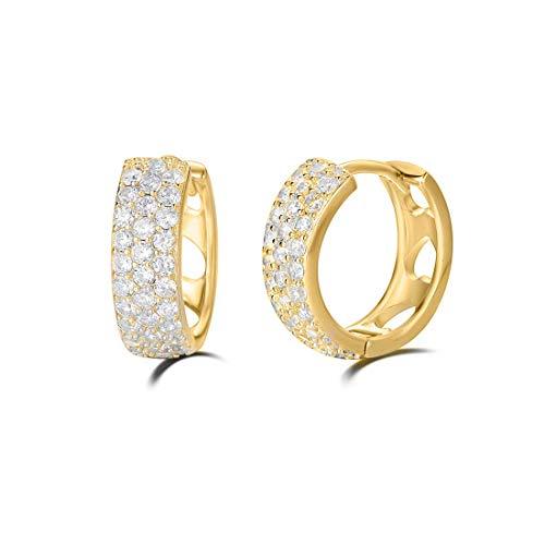 n Ohrringe Runde Knorpel Klein aus 925 Sterling Silber Gold Plattiert mit Rundschliff Cubic Zirkonia Schmuck - Durchmesser: 15 mm ()