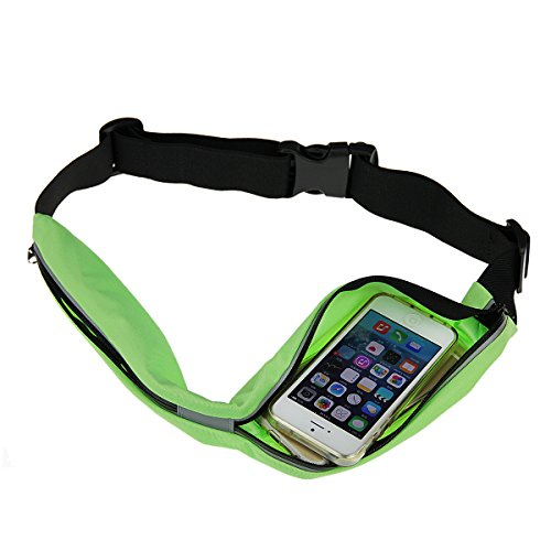 Gürteltasche Bauchtasche wasserdicht elastisch Nylon Laufgürtel Lauftasche Hüfttaschen mit 2 Tasche geeignet für Joggen Radfahren Wandern Laufen und andere Outdoor Aktivitäten Grün