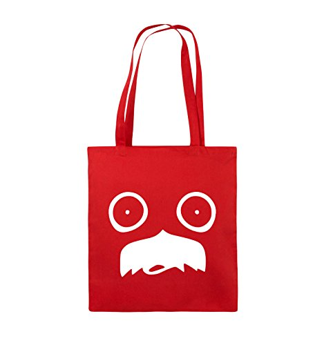 Comedy Bags - GESICHT SCHNURRBART - COMIC - Jutebeutel - lange Henkel - 38x42cm - Farbe: Schwarz / Silber Rot / Weiss