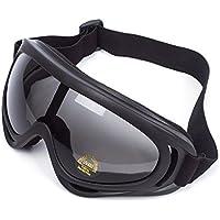 Lunettes de Protection Masque de Visage Incassable Anti-UV Coupe-Vent Anti-Poussière Anti-Sable Anti-Brouillard pour Activités Extérieurs Vélo Moto Cross VTT ATV Ski Équitation ( Lentille Noir )