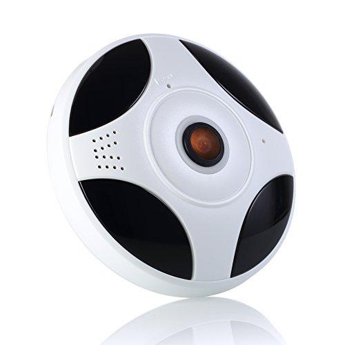 Telecamera IP, Fotocamera di rete Cake rotonda bianca IMATEK X326, 2.0 Megapixel 1080P Telecamera panoramica con obiettivo a 360 gradi Fisheye, connessione Wi-Fi P2P, monitoraggio e interfono in tempo reale, rilevamento del movimento, sistema di sicurezza domestica