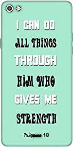 Snoogg Him Who Gives Me Strength Quote Designer Protective Back Case Cover For Micromax Canvas Silver 5 Q450
