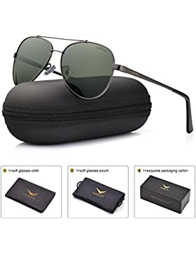 LUENX Hombre Gafas de sol Aviador polarizado con estuche - UV 400 No Espejo de protección