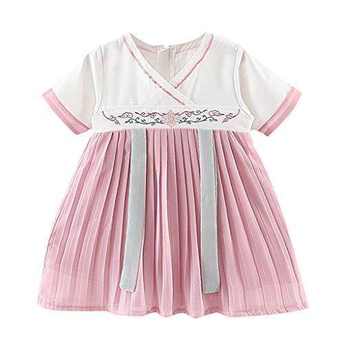 FBGood Mädchen Prinzessin Kleider Kinder V-Ausschnitt Bestickt Kostüm Antike Han Chinesische Strandkleid Neugeborenes Party Spielanzug Sommer Kurzarm Kleidung (Chinesische Antike Kostüm)