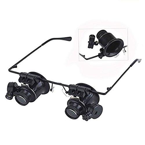 Lin XH Stirnbandlupe mit LED-Licht, Kopfhalterung, Lupe zum freihändigen Lesen mit Licht für Enge Arbeit Juwelierlupe Basteln Uhren Reparatur Hobby 20-Fach