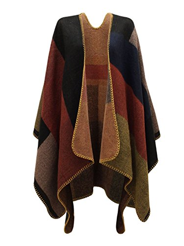 CHAOS-THEORY-WOMENS-LADIES-CHECKED-KNITTED-WINTER-TARTAN-CAPE-STYLISHED-PONCHO