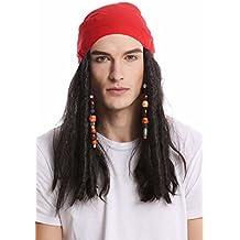 WIG ME UP ® - A72325-P1 Peluca & bandana pañuelo Halloween Carnaval mujer hombre largo negro perlas trenzas rasta trenzado pirata Caribe