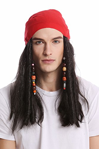 WIG ME UP - A72325-P1 Perücke & Bandana Kopftuch Damen Herren Karneval Halloween lang schwarz Perlen Piratin Pirat Seeräuber Rasta (Karibik Piraten Perücke Mit Perlen)