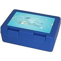 Preisvergleich für Brotdose mit Namen Alessio und schönem Drachen-Motiv für Jungen | Brotbox blau - Vesperdose - Vesperbox - Brotzeitdose mit Vornamen