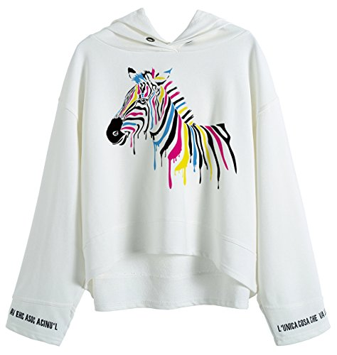 So'each Women's Zebra Animal Art Graphic Hoodie Sweatshirt Batwing Pullover (Hoodie Zebra Sweatshirt)